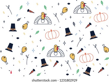 Thanksgiving Icons Illustration. Thanksgiving Day is a national holiday celebrated on various dates in Canada, the United States, some of the Caribbean islands, and Liberia.