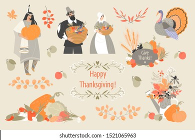 Thanksgiving illustrations set with cute pilgrim and native american characters, plant and vegetable emblems and turkey. Cute vector images for design of cards and banners.