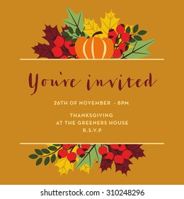 Thanksgiving invitation card with pumpkins, leaves and berries. Template. Vector and illustration design.