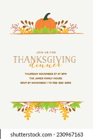 Thanksgiving Invitation Template with Pumpkin and Autumn Leaves