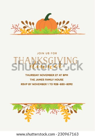 Thanksgiving Invitation Template Pumpkin Autumn Leaves Stock Vector