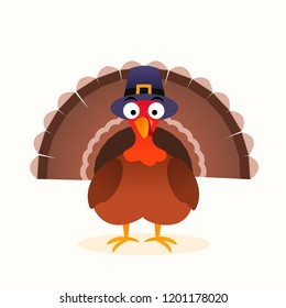 Thanksgiving isolated vector turkey, cartoon character