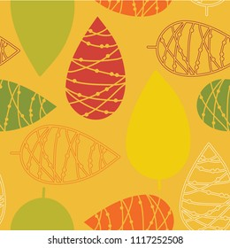 Thanksgiving leaves. Orange, yellow, green, and red leaves on mustard background. Seamless vector pattern. Perfect for fabric, all kinds of paper projects, and stationery. Great fit for Thanksgiving!