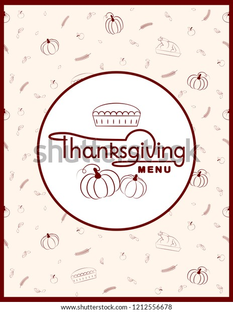 Thanksgiving menu template for restaurant or cafe on light beige background with turkeys, pumpkin pie, pumpkin, apples and oak leave. Thanksgiving menu design. Seamless background on craft. EPS 8