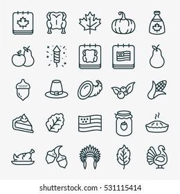 Thanksgiving Minimal Flat Line Stroke Icon Pictogram Symbol Illustration Set Collection