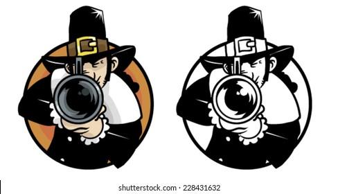 Thanksgiving pilgrim hunter - Vector clip art illustration on white