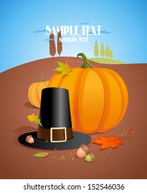 Thanksgiving poster design with pumpkin and pilgrim hat, copy space for text, mock up for invitation