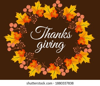 Thanksgiving poster template. Autumn leaves on dark background