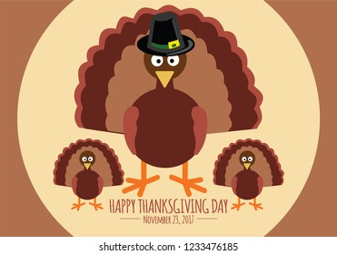 Thanksgiving poster with turkey and wishes Illustration. Thanksgiving Day is a national holiday celebrated on various dates in Canada, the United States, some of the Caribbean islands, and Liberia.