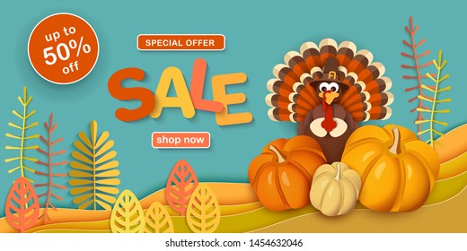 Thanksgiving, sale. Advertising banner with traditional turkey in a hat, pumpkins, autumn leaves in the style of paper cut. Layered horizontal vector background EPS-10