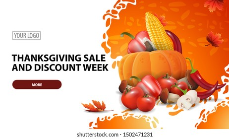 Thanksgiving sale and discount week, modern horizontal web banner with beautiful particle texture and autumn harvest
