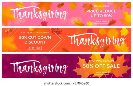 Thanksgiving sale poster or autumn fall season discount promo offer web banners template background for 50 percent price off. Vector autumn maple leaf and calligraphy design for Thanksgiving sale