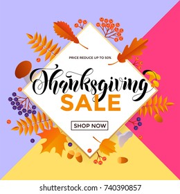 Thanksgiving sale poster or autumn fall season discount promo offer web banner template background for 50 percent price off. Vector autumn maple leaf and calligraphy design for Thanksgiving sale store