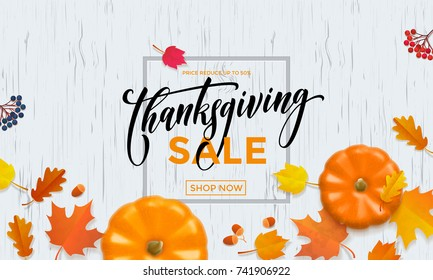 Thanksgiving sale shop poster or autumnal fall shopping promo web banner template of pumpkin, autumn maple or oak leaf. Vector calligraphy design for Thanksgiving sale 50 percent discount store.
