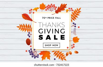 Thanksgiving sale text poster for September autumn shopping promo or autumnal fall shop discount background. Vector autumn maple and oak leaf foliage for thanksgiving discount design sale web banner.