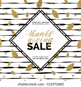 Thanksgiving sale text vector on seamless striped background with gold glitter leaves, special offer thanks giving sale, golden shiny discount text for flyer, poster, banner, print,
