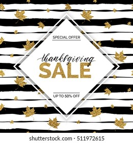 Thanksgiving sale vector text on gold autumn leaves seamless pattern on striped background, special offer thanks giving sale, golden shiny discount text for flyer, poster, banner, print,