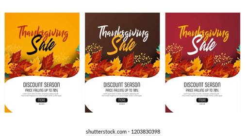 Thanksgiving sale web banner or Big seasonal promo offer discount poster for autumnal shopping background template. Vector pumpkin harvest maple, oak leaf or rowan berry for Thanksgiving sale design.