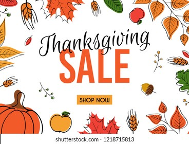 Thanksgiving sale web banner or Big seasonal promo offer discount poster for autumnal shopping background template. Hand drawn leaves and pumpkin for Thanksgiving sale design. Vector illustration.