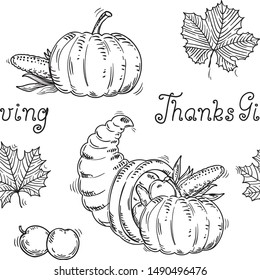 Thanksgiving seamless pattern at retro style. Vector  with hand written text,  many vegetables and leaves on white background