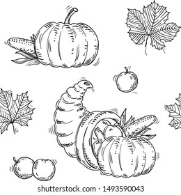 Thanksgiving seamless pattern. Vector  with leaves, Cornucopia and pumpkins on white background