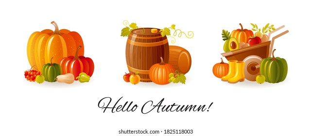 Thanksgiving set. Autumn vector. Fall cartoon illustration. Cute kid icons with pumpkin, harvest whellbarrow, wine casks. Happy Thanks giving day graphic, isolated autumn farm clipart collection
