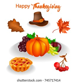 with thanksgiving, set, hat, leaves, pumpkin, grapes, apple, rowanberry, pie, vector, greeting card for holiday, party
