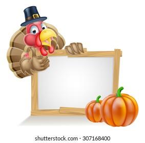 Thanksgiving sign with cartoon turkey bird wearing a pilgrim or puritan thanksgiving hat with pumpkins