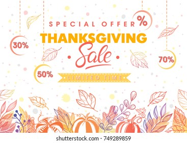 Thanksgiving special offer banner.Hand drawn lettering with leaves in fall colors.Sale season card perfect for prints, flyers,banners, promotion,special offer and more. Vector thanksgiving promotion.