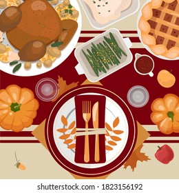 Thanksgiving table setting. Turkey, pies, potatoes, plates, cutlery, napkins, glasses, pumpkins, fruits and decor. Autumn leaves and berries. Vector illustration. Top view