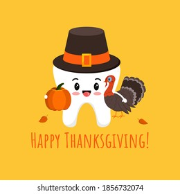 Thanksgiving tooth in pilgrim hat with pumpkin and turkey isolated vector icon. White tooth in carnival costume - dental character for dentist card. Flat design cartoon kawaii style illustration.