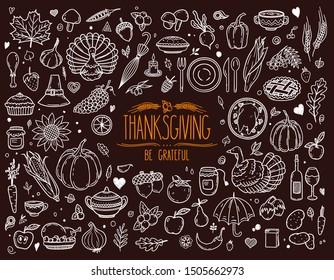 Thanksgiving traditional holiday symbols: pumpkin, turkey, pie, corn and other. Vector hand drawn set for postcard, banner, greeting card, poster.