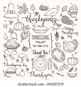 Thanksgiving traditional symbols in doodle style. Collection of cute hand drawn design elements for greeting card, invitation, poster templates: food and drink, pumpkin pie, turkey, corn, lettering.