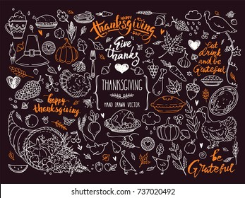 Thanksgiving traditional symbols. Hand drawn design elements, illustrations, handwritten lettering. Vector collection for banner, congratulation card, invitation, poster: pumpkin pie, turkey, corn etc