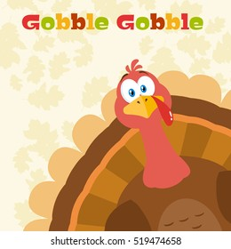 Thanksgiving Turkey Bird Cartoon Mascot Character Peeking From A Corner. Vector Illustration Flat Design Over Background With Autumn Leaves And Text Gobble Gobble