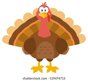 Thanksgiving Turkey Bird Cartoon Mascot Character. Vector Illustration Flat Design Isolated On White Background
