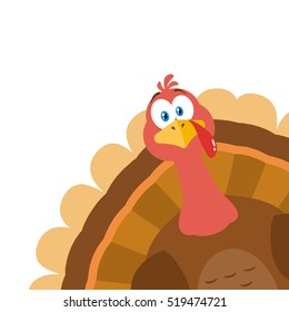 Thanksgiving Turkey Bird Cartoon Mascot Character Peeking From A Corner. Vector Illustration Flat Design Isolated On White Background