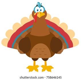 Thanksgiving Turkey Bird Cartoon Mascot Character. Vector Illustration Flat Design Isolated On White Background