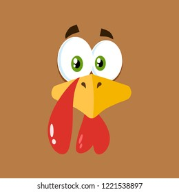 Thanksgiving Turkey Bird Face Cartoon Character Flat Brown Label. Vector Illustration Background