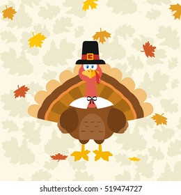 Thanksgiving Turkey Bird Wearing A Pilgrim Hat. Vector Illustration Flat Design Over Background With Autumn Leaves