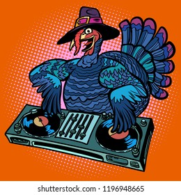 Thanksgiving Turkey character. DJ at the holiday party. Comic cartoon pop art retro vector illustration