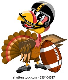 Thanksgiving Turkey inviting to Playing American Football isolated