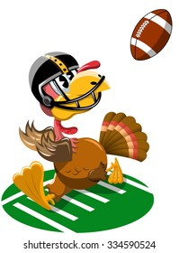 Thanksgiving Turkey Playing American Football