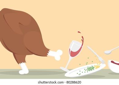 Thanksgiving Turkey Running Off of Table, Funny Vector Illustration
