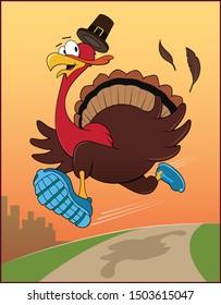 A Thanksgiving turkey runs in a race.