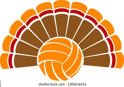 A Thanksgiving turkey tail with the body of a volleyball.
