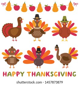 Thanksgiving turkeys  and decoration, isolated design element set