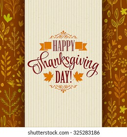 Thanksgiving typography greeting card on seamless pattern. Vector illustration EPS 10