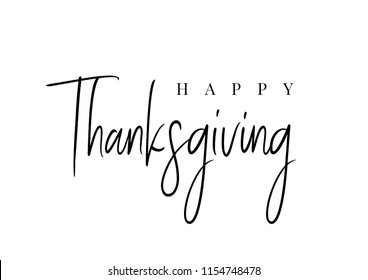 Thanksgiving typography. Happy Thanksgiving Day hand painted lettering for Thanksgiving Day. Thanksgiving design for cards, prints, invitations.  Black text isolated on white background.