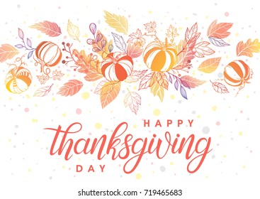 Thanksgiving typography.Hand drawn lettering with stylized pumpkins,leaves and confetti in fall colors.Thanksgiving design perfect for prints,flyers, banners, invitations, special offer and more.